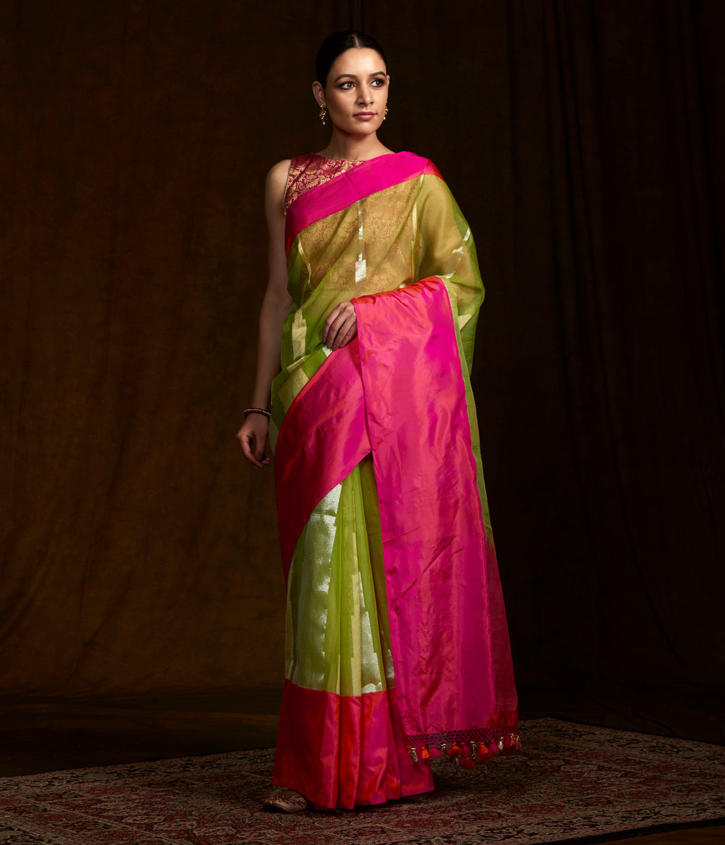 Green and pink banarasi kora saree Temple weave and katan silk borders