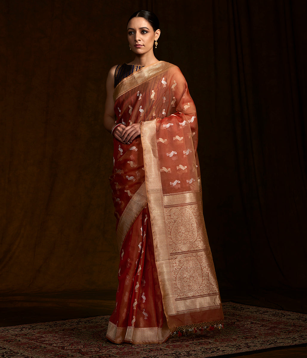 Rust kora silk banarasi saree with Pelicans woven in kadhwa weave