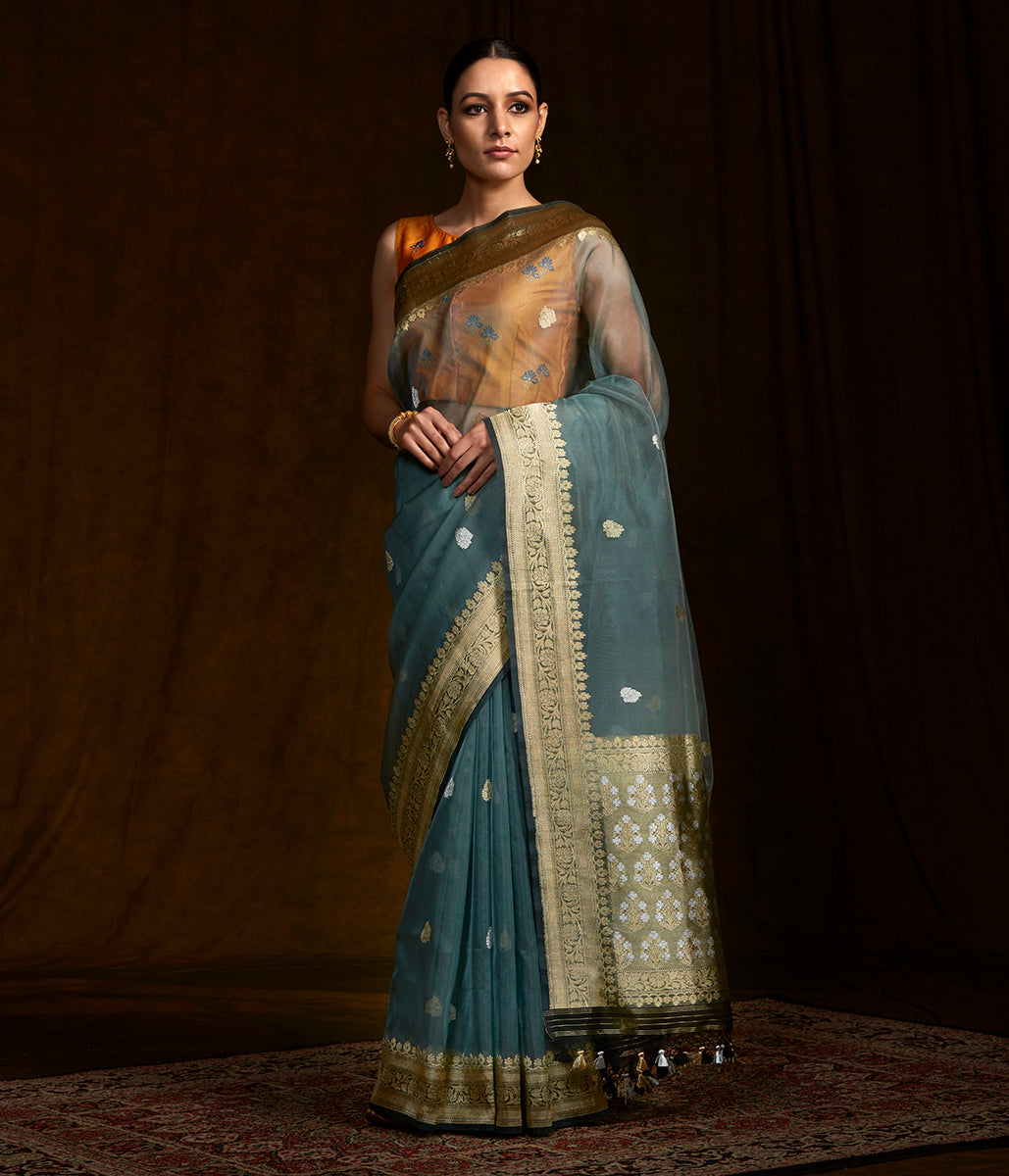 Grey kora silk banarasi saree with kadhwa border and pallu