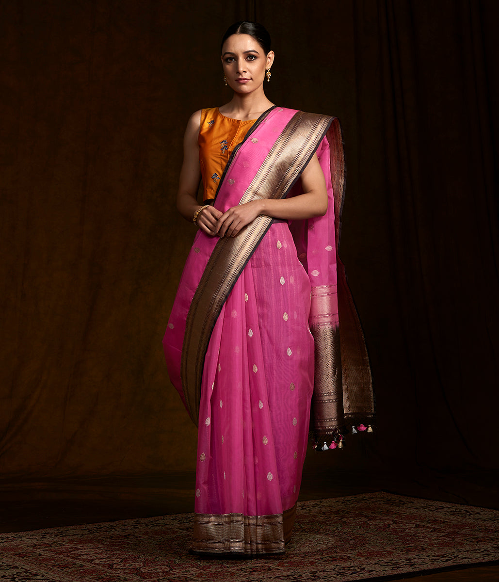 Pink kora silk banarasi saree with kadhwa border and pallu