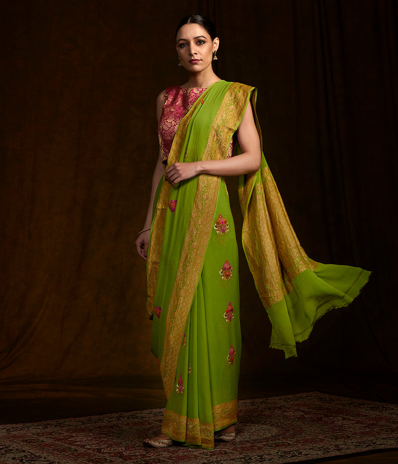 Fresh Green banarasi georgette saree with meenakari boota