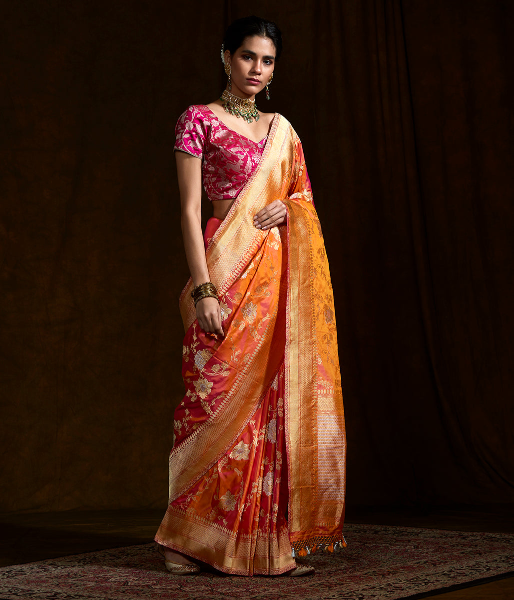Fiery Orange and pink kadhwa jangla with pink selvedge