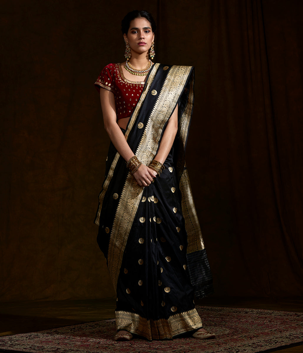 Black Kadhwa banarasi saree with lion motif on pallu