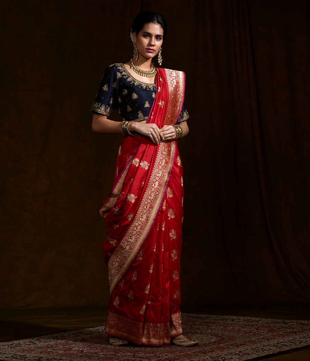 Red Kadhwa banarasi saree with shikargah border