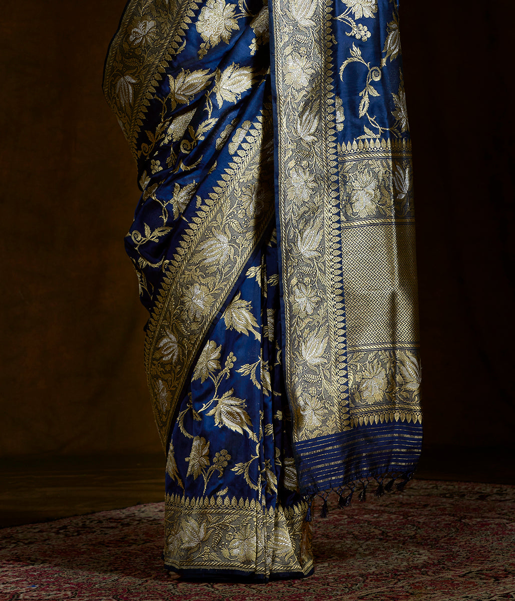 Midnight blue Handwoven kadhwa banarasi jangla woven in gold and silver zari