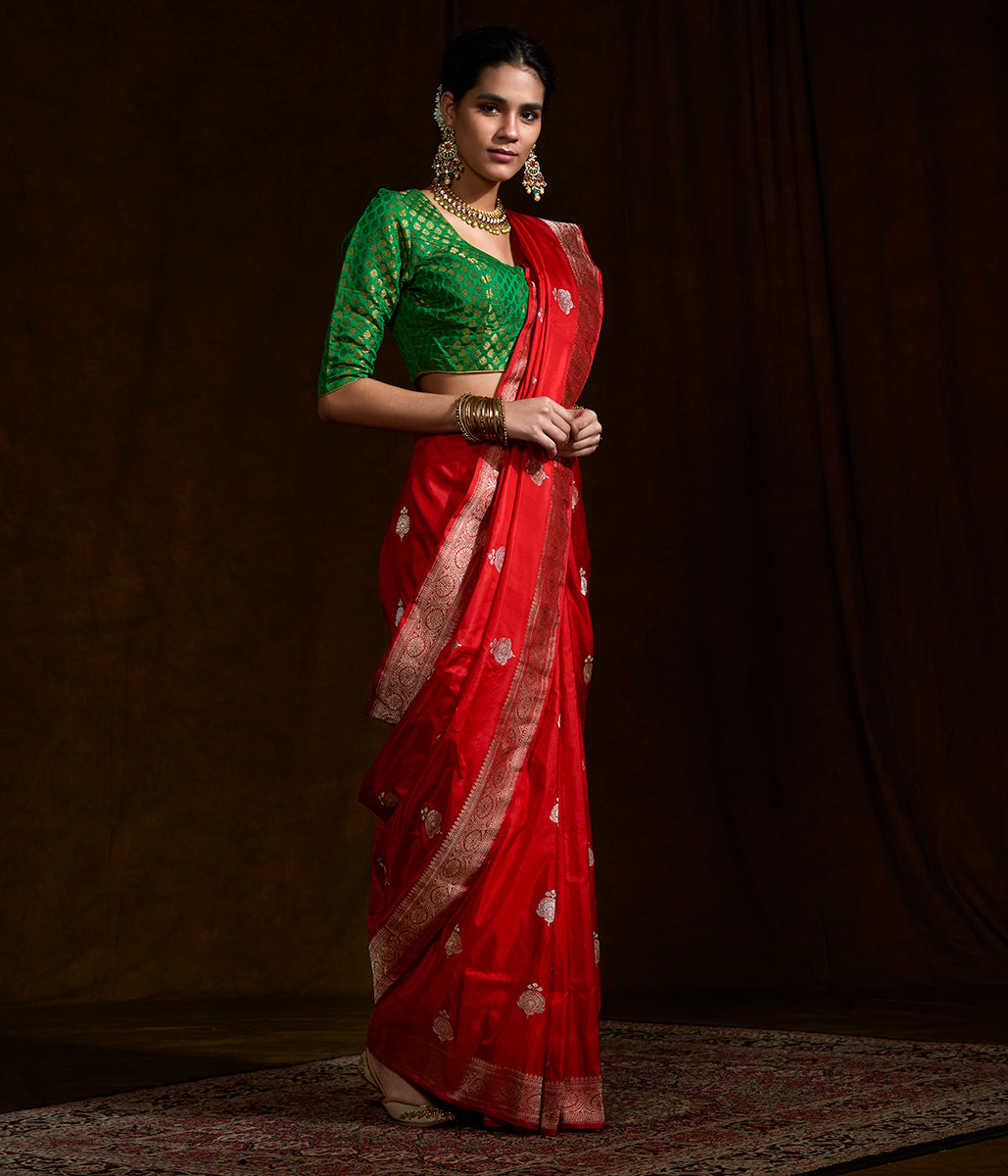 Red Kadhwa banarasi saree woven with mughal meenakari booti