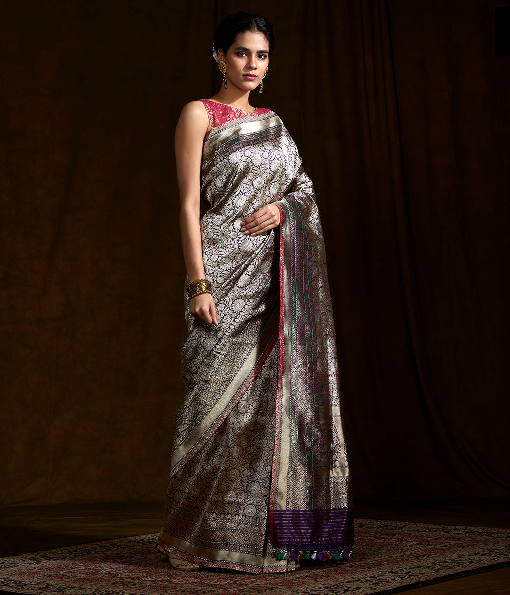 Purple and gold meenakari kimkhab saree with meenakari