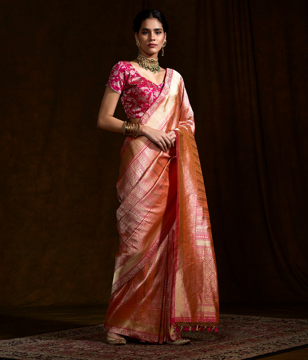 Handwoven Peach banarasi katan silk saree woven in fine kimkhab weave with kadhwa borders and pallu