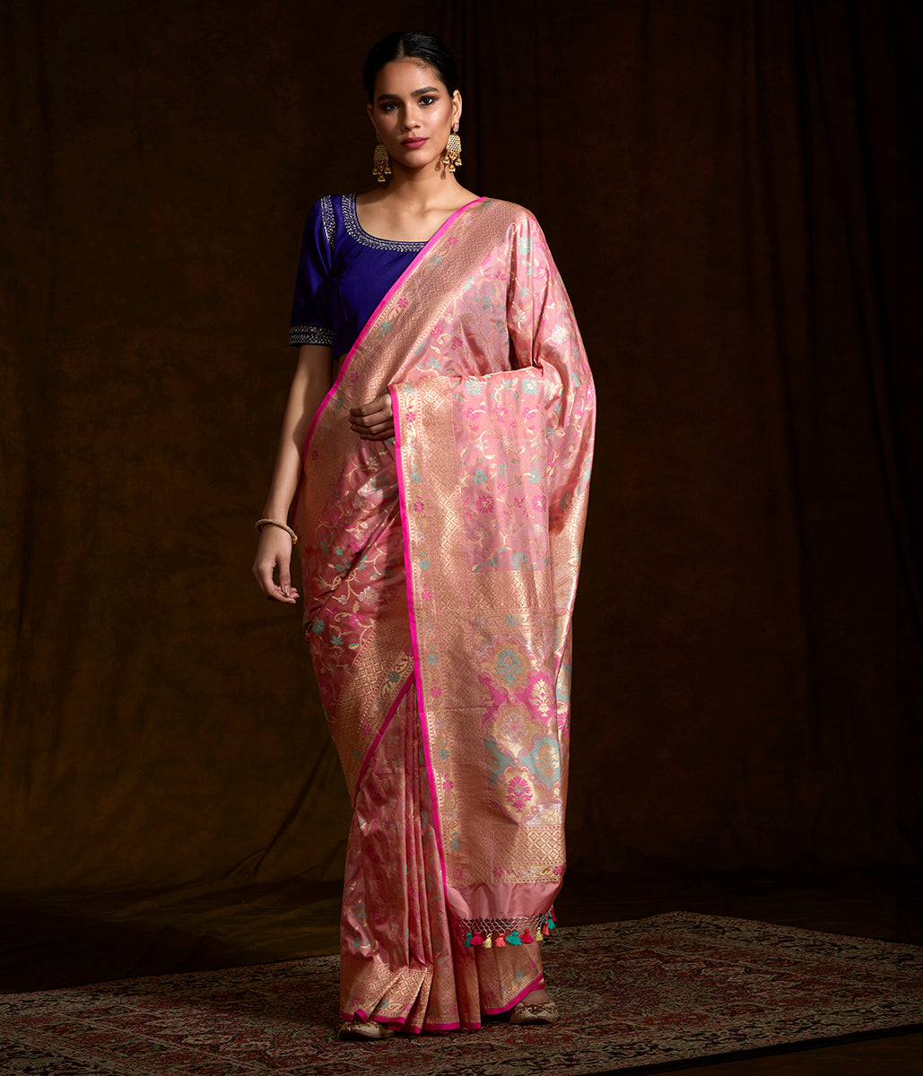Handwoven Banarasi katan silk saree in blush pink with pastel meenakari