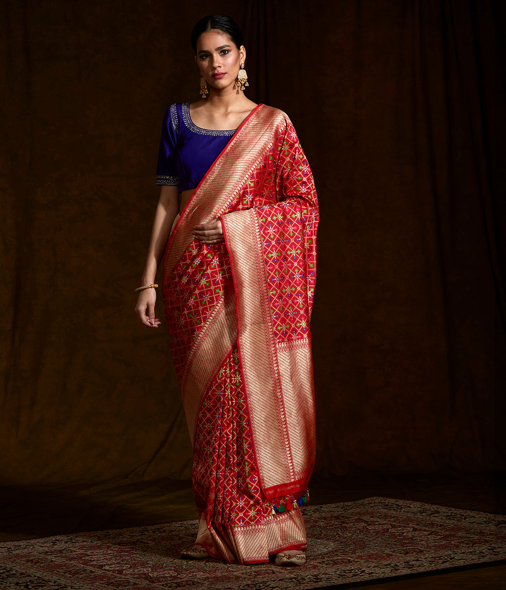 Red meenakari patola saree woven in fine katan silk
