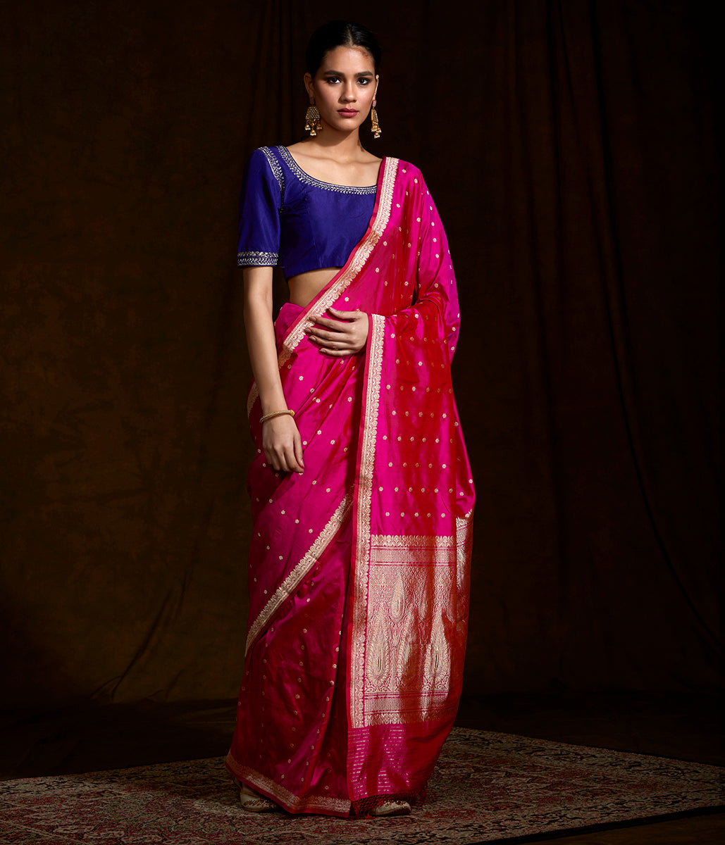 Hot Pink katan silk saree with small floral motifs and a delicate kadhwa border