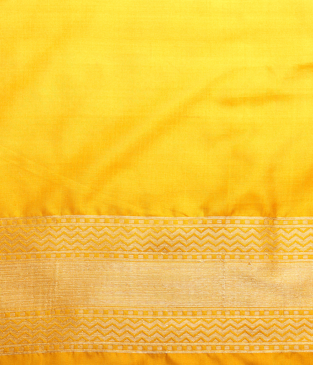 Handwoven Banarasi Patola saree in yellow