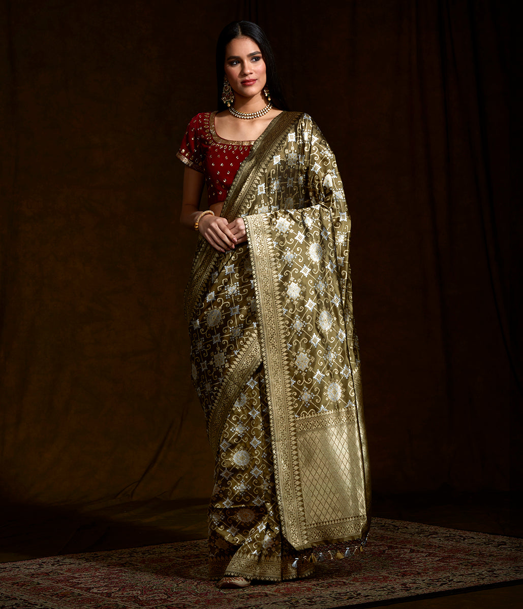 Olive Banarasi patola saree woven in rich dupion silk