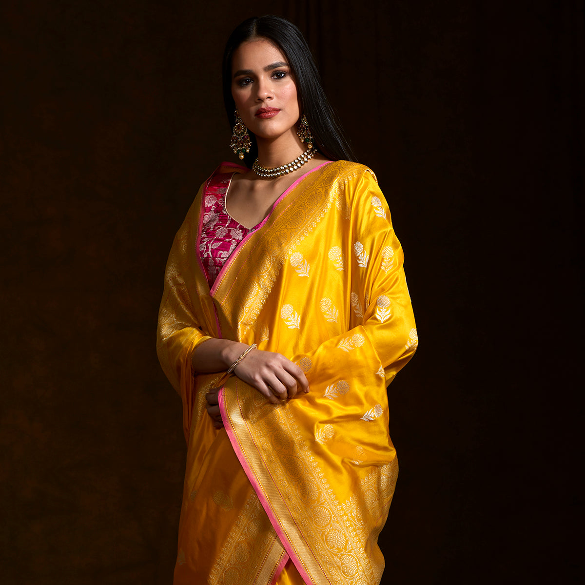 8e62b20432f454 Yellow katan silk saree with floral motifs and a delicate kadhwa borde -  WeaverStory