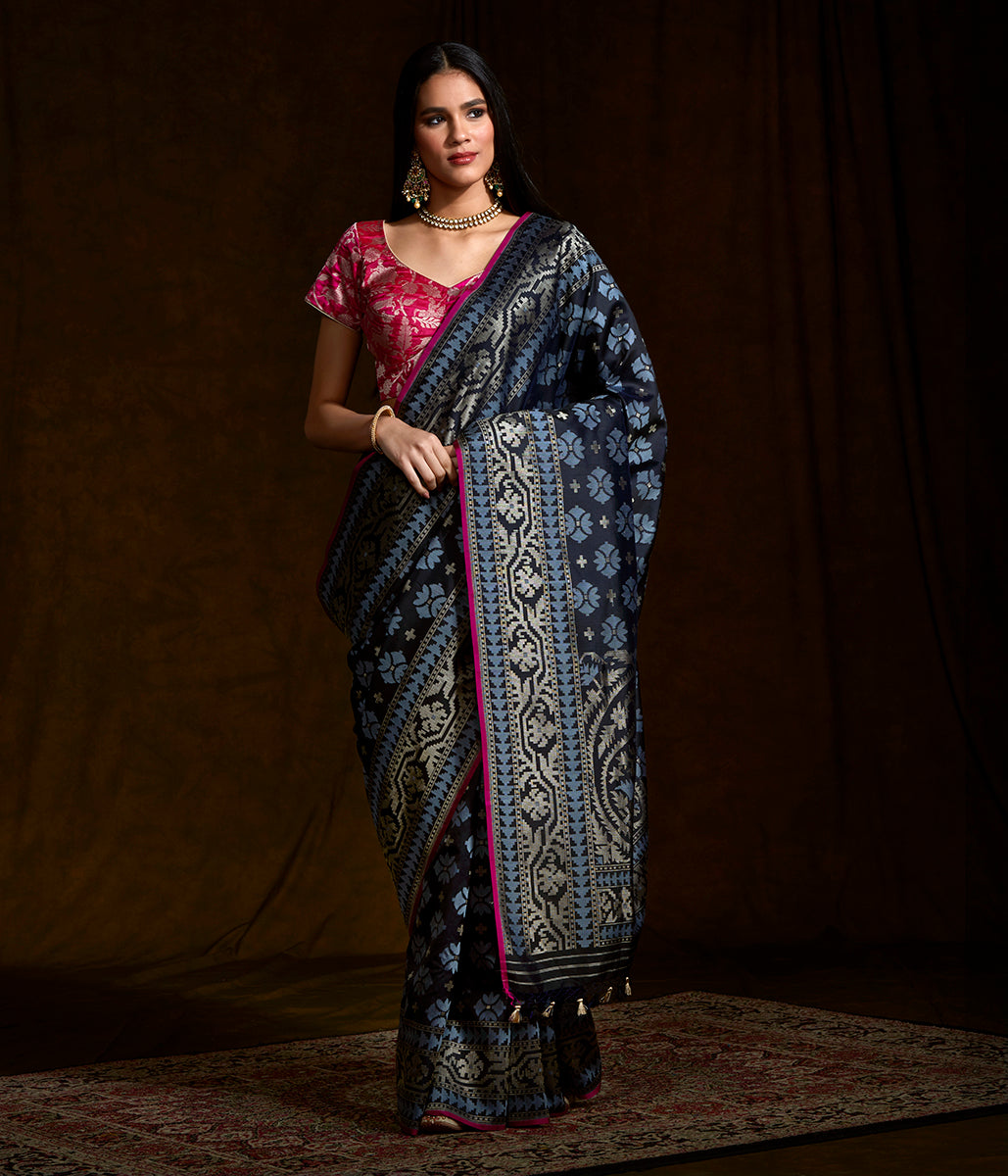 Black Handwoven banarasi cutwork patola saree with konia pallu