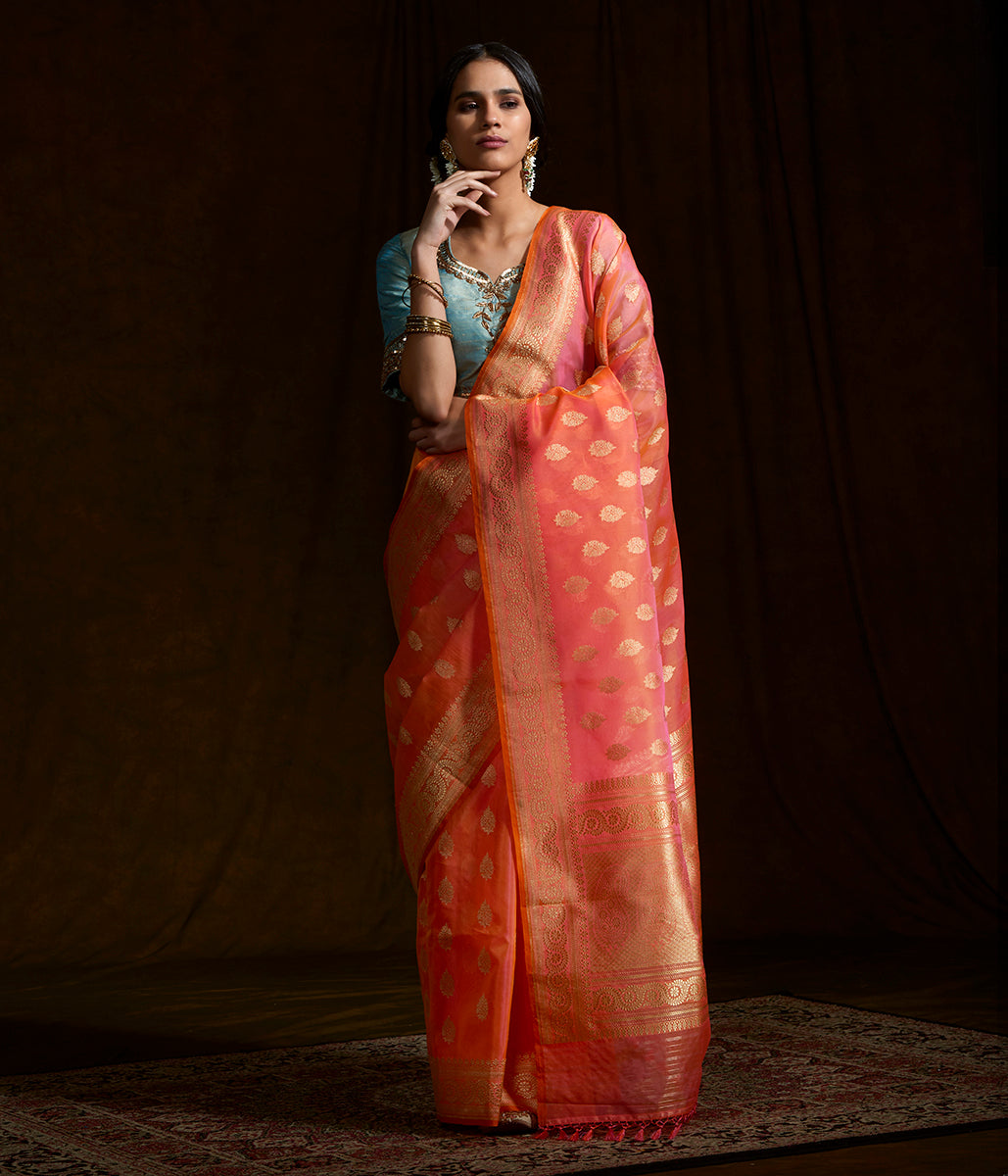 Peach and Pink dual tone banarasi kora silk saree with kadhwa booti and beldaar border