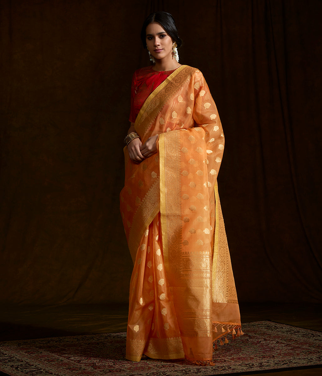 Flaming orange dual tone banarasi kora silk saree with kadhwa booti