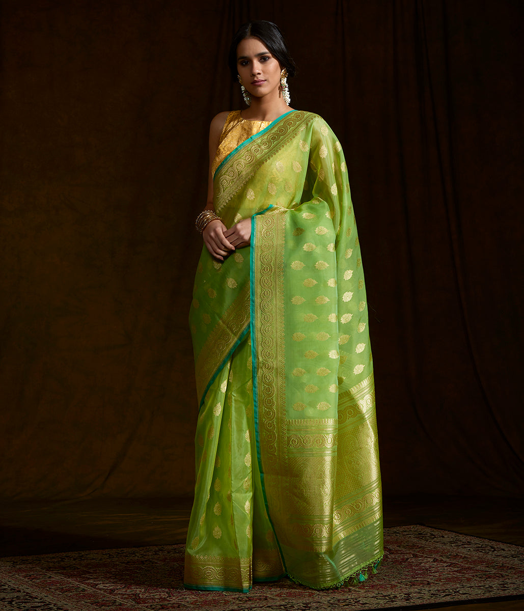 Green banarasi kora silk saree with kadhwa booti and beldaar border