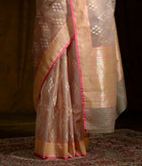 Taupe banarasi kora silk saree with kadhwa booti in jamdani weave woven with real zari