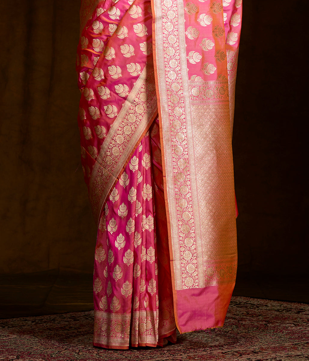 Pink and Orange Dual Tone Banarasi Saree with Traditional Booti