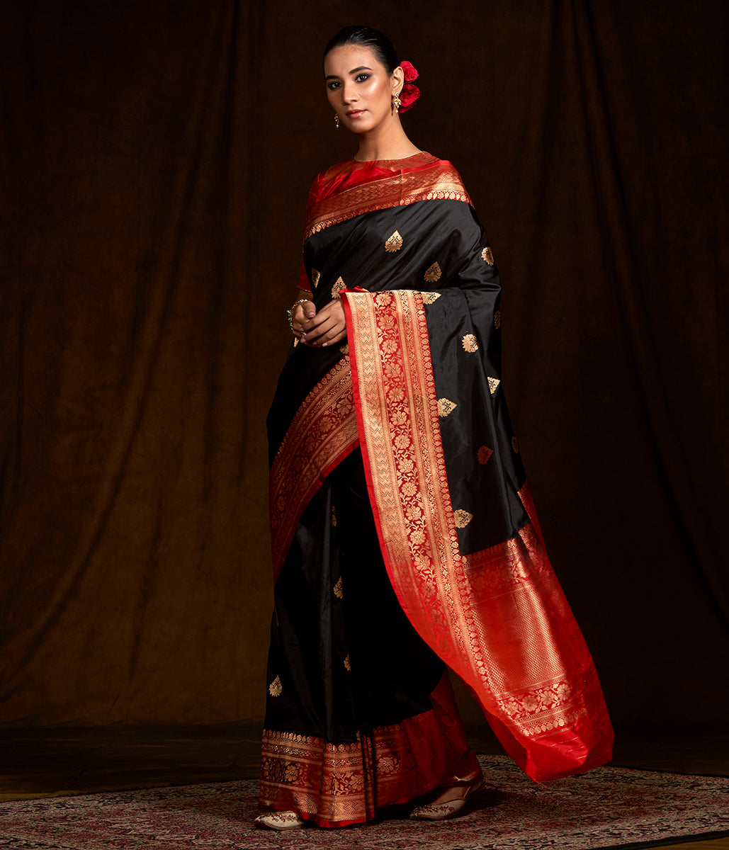 Black Katan Silk Banarasi with a Contrast Border
