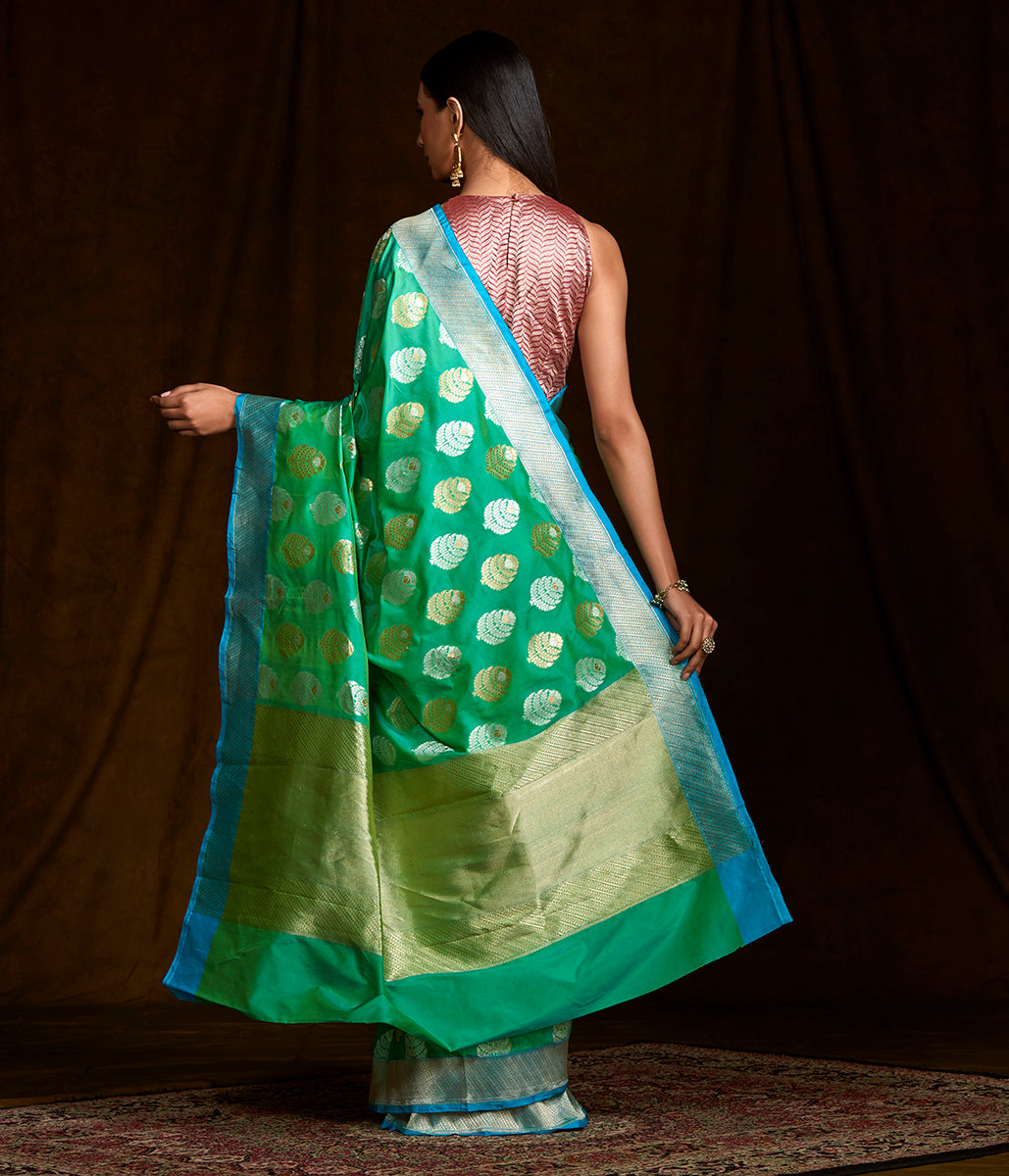 Handwoven Blue and Green Banarasi with Leaf Motifs