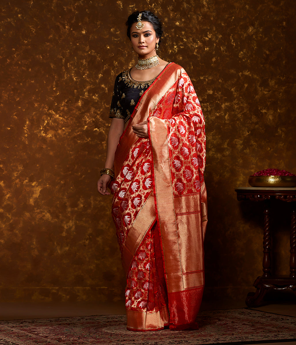 Handwoven Banarasi Shikargah Saree in Red with Sona Rupa Zari
