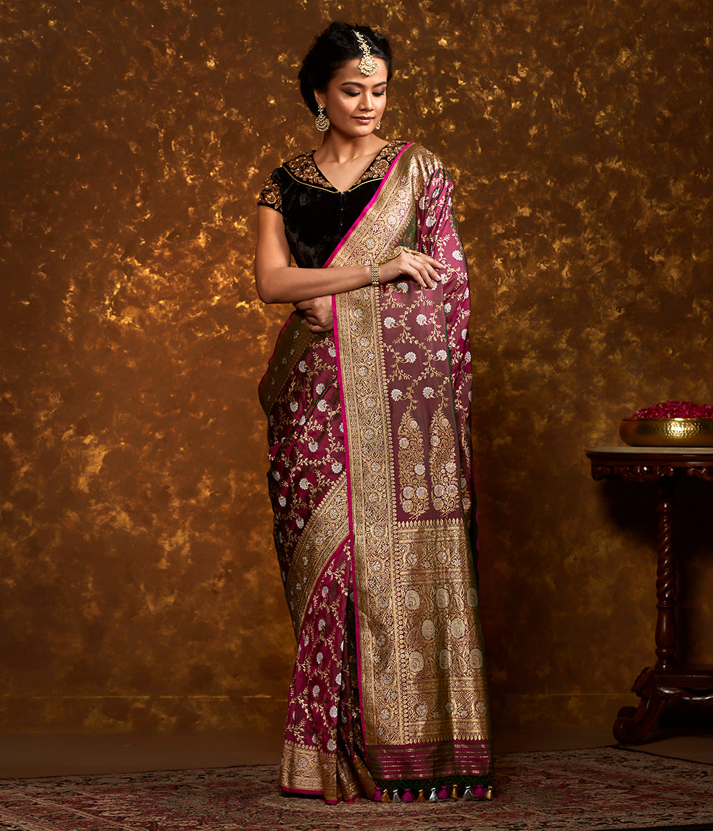 Wine and green dual tone banarasi jangla with floral jaal
