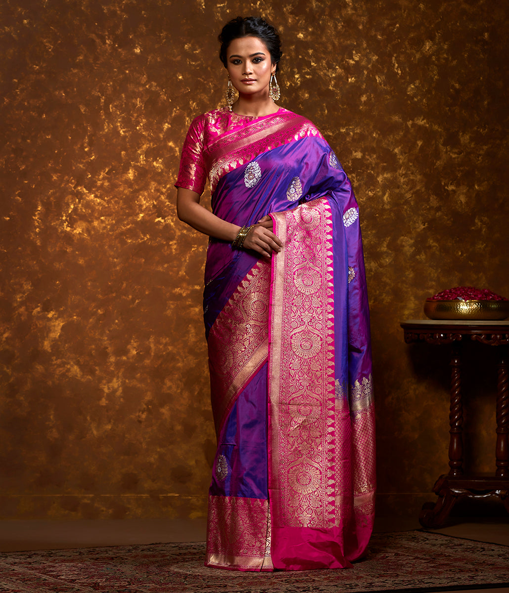 Handwoven Purple Banarasi Saree with Hot Pink Border