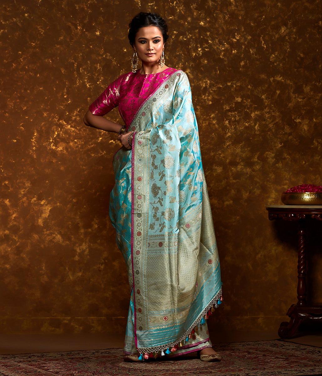 Handwoven Light Blue Kadhwa Jangla with Meenakari