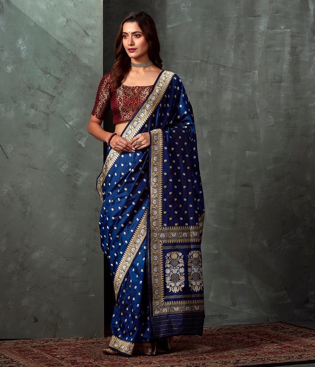Handwoven Banaras Baluchari in Indigo Blue with Zari