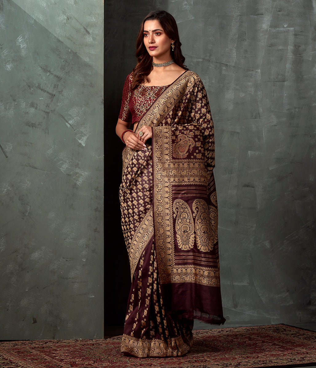 Handwoven Banaras Baluchari in Brown with Kairi and Koniya
