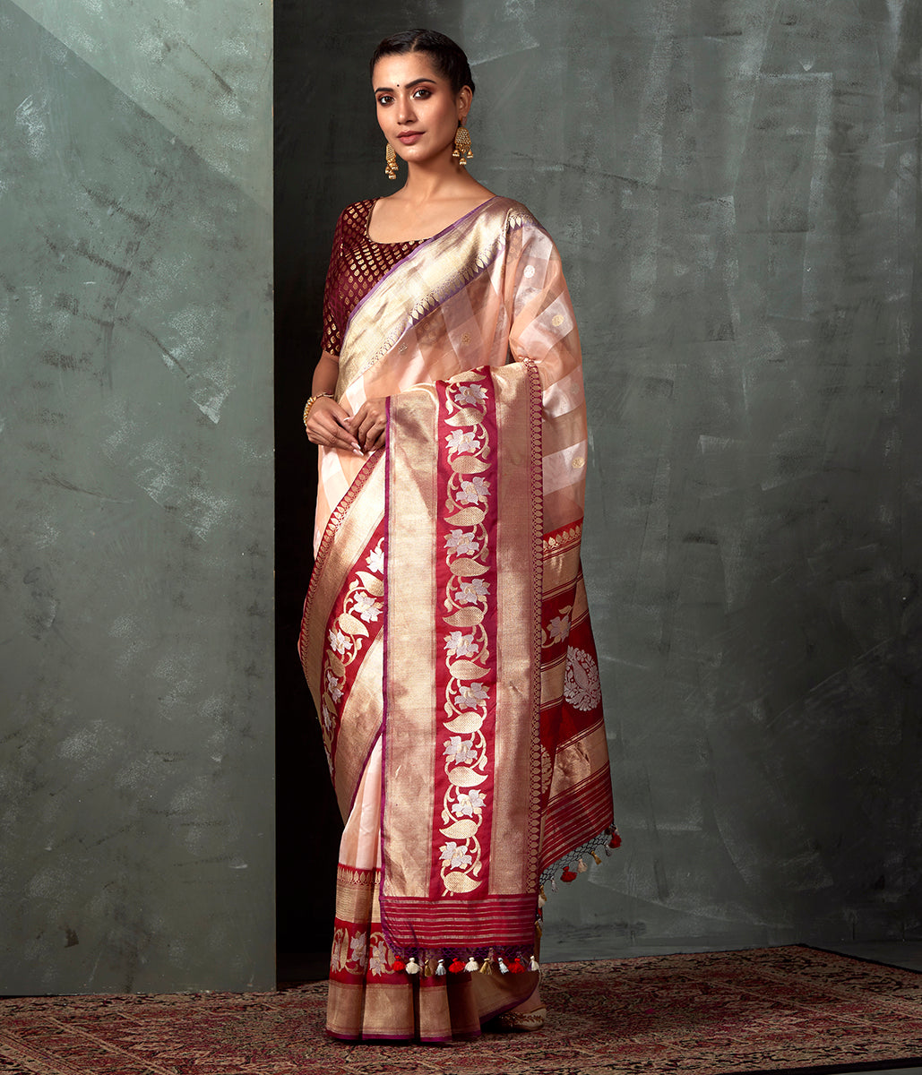Handwoven Peach Striped Kora Silk Banarasi with Red Border and Pallu
