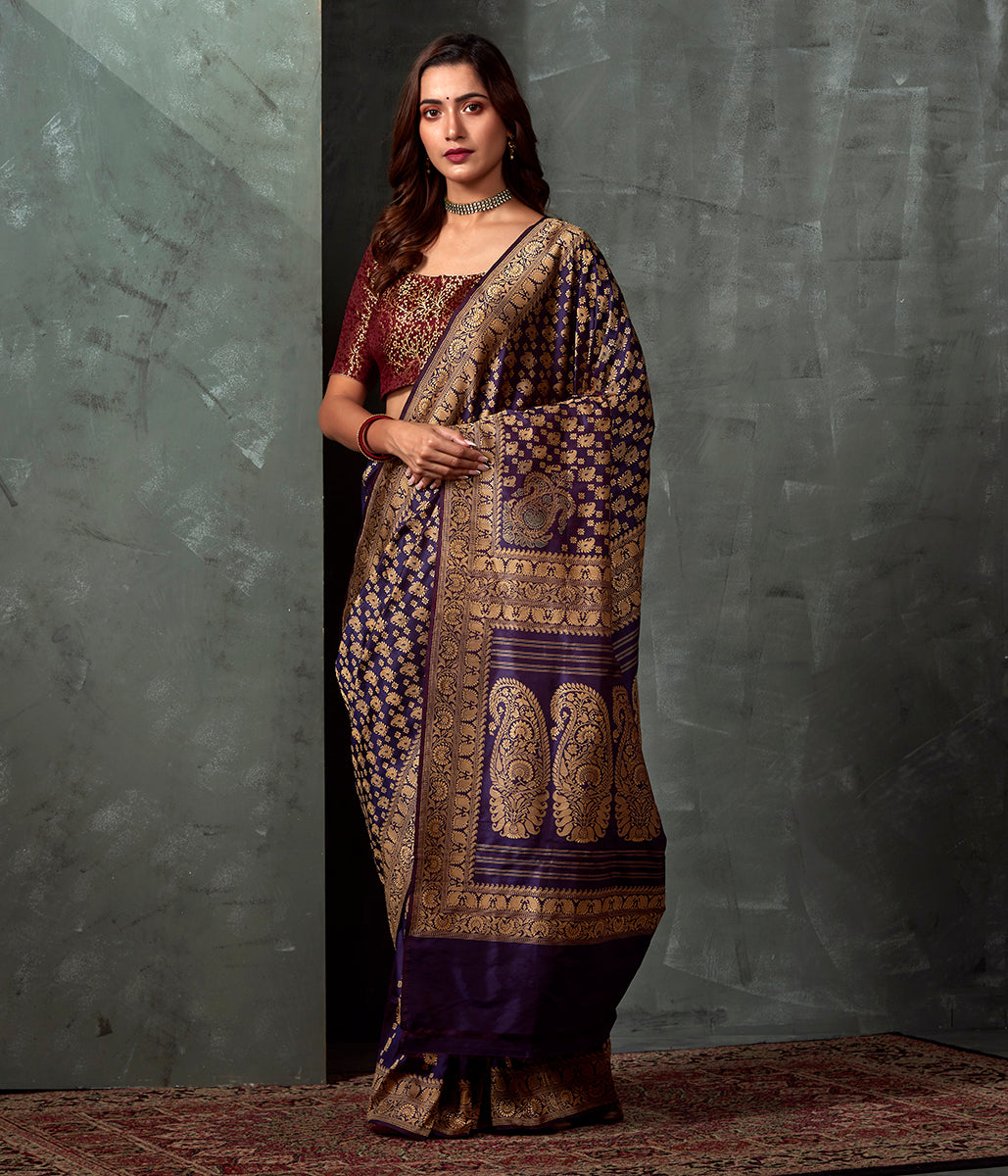 Handwoven Banaras Baluchari in Deep Purple with Kairi and Koniya