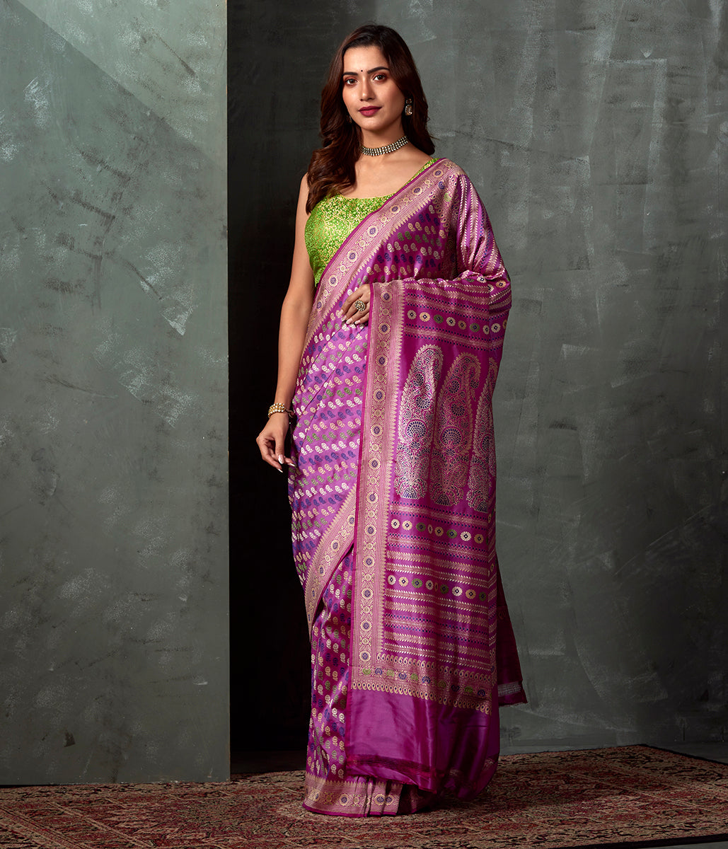 Handwoven Banaras Baluchari in Mauve with Small Floral Booti and Kalka Pallu
