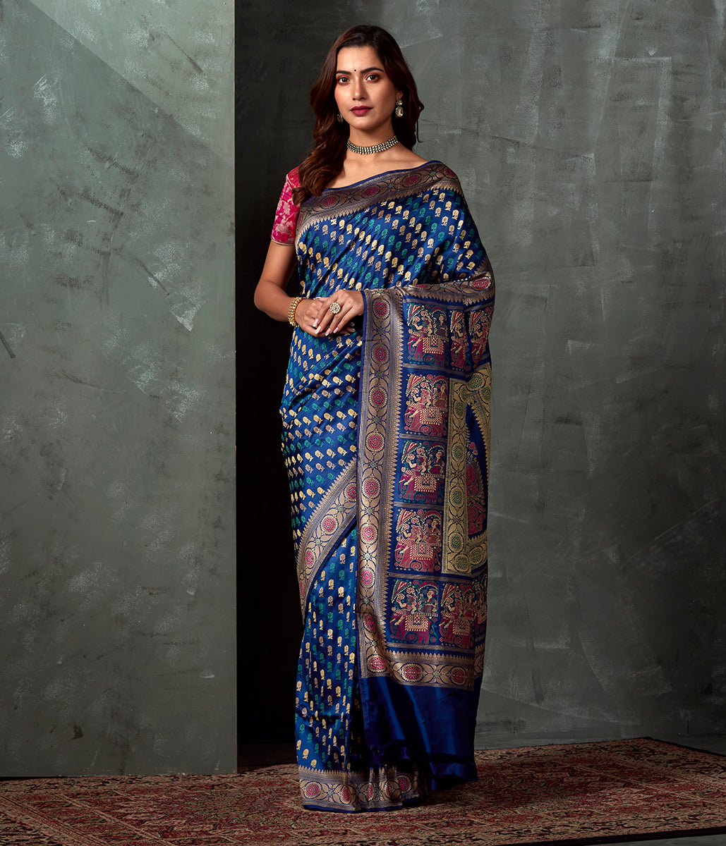 Handwoven Banaras Baluchari in Blue with Grand Elephant Pallu