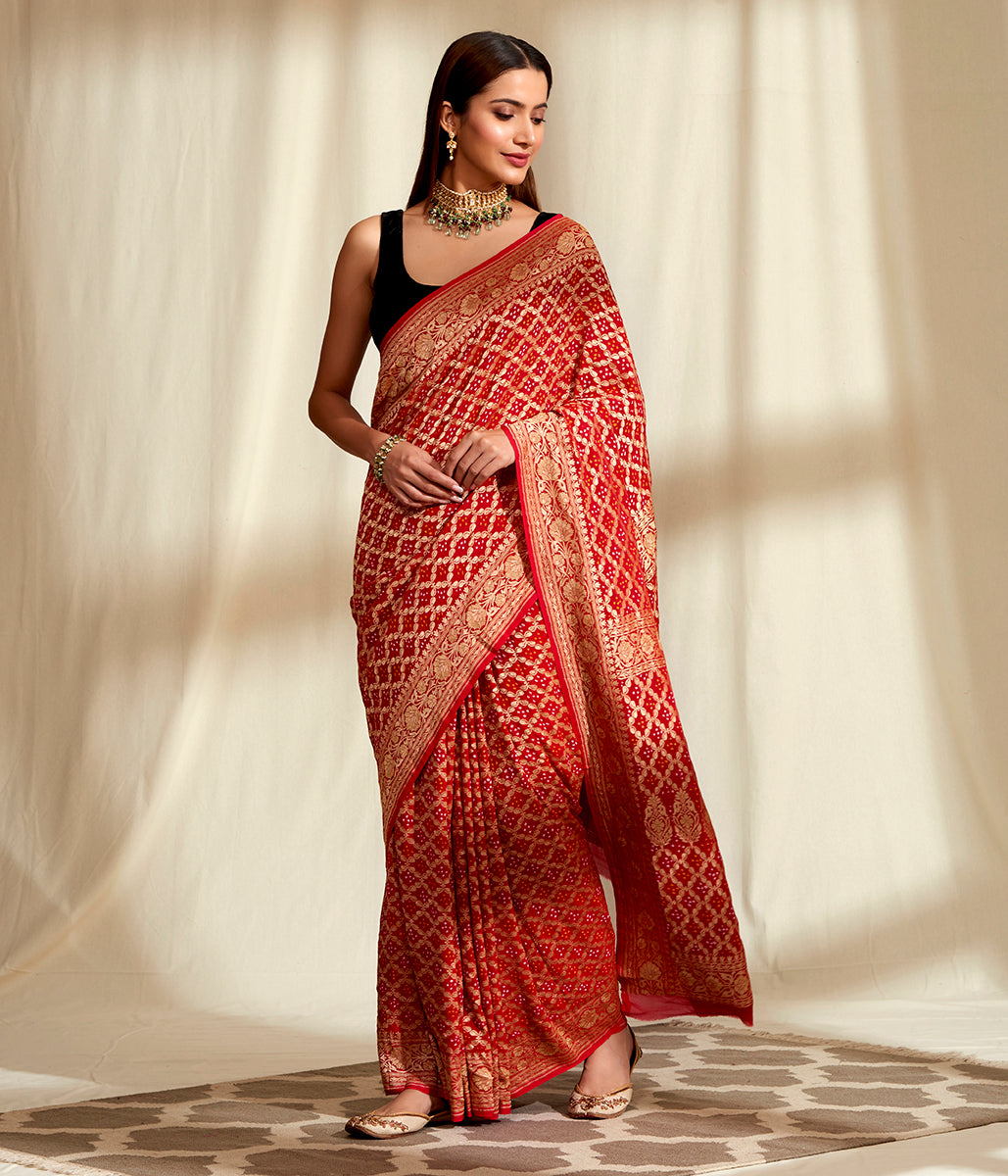 Handwoven Banarasi Bandhej Saree in Red with Gold Zari Weave