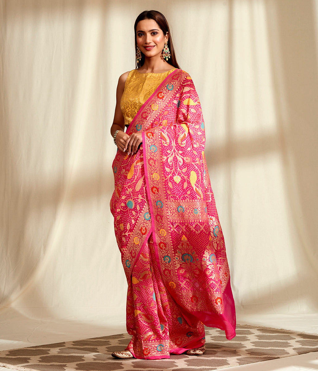 Handwoven Banarasi Bandhej Saree in Pink with Meenakari Jangla
