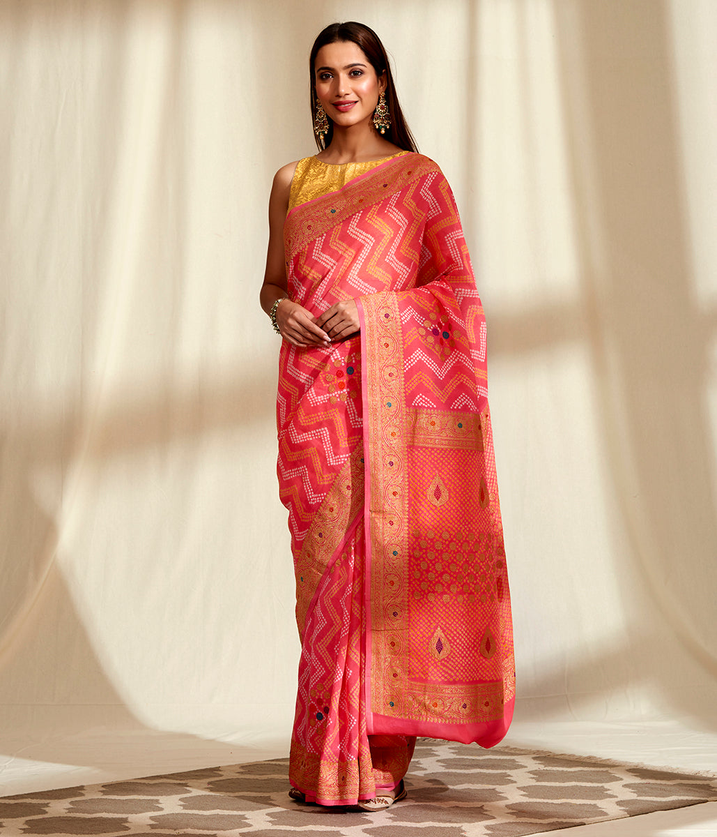 Handwoven Banarasi Bandhej  Saree in Peach with Meenakari