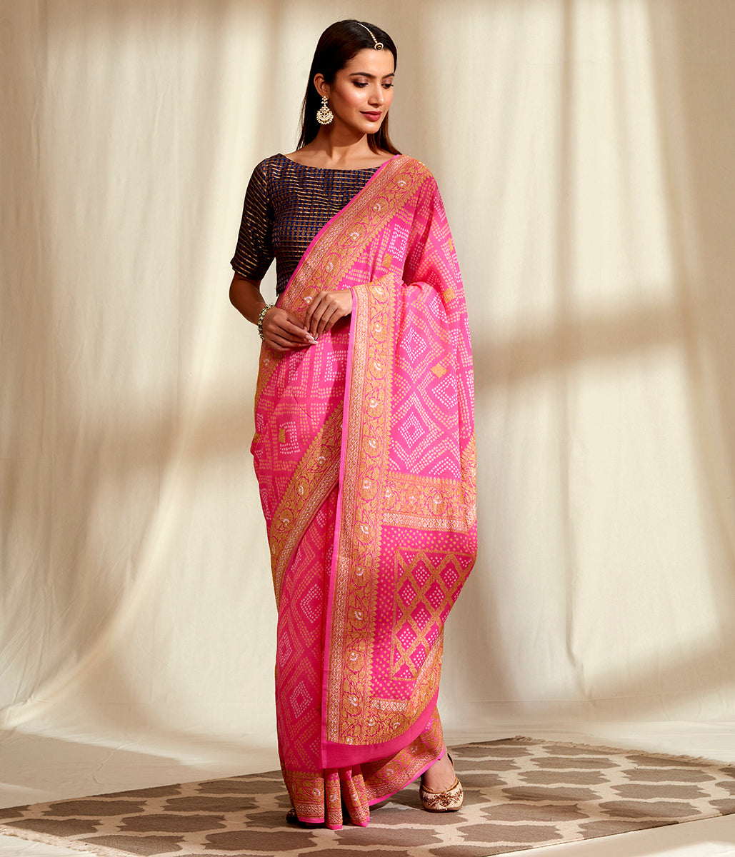 Handwoven Banarasi Bandhej Saree in Pink with Gold Zari Kadhwa Weave