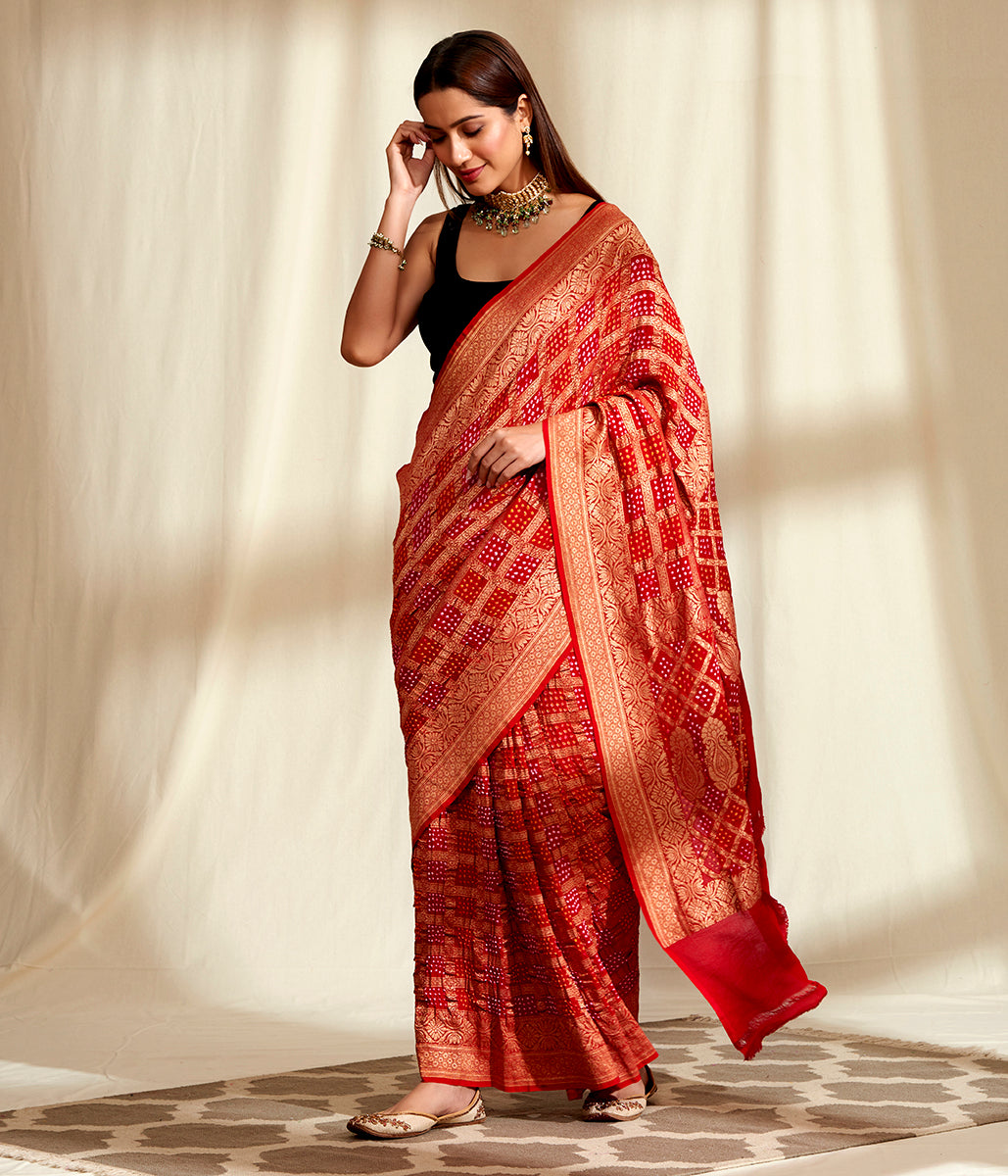 Handwoven Banarasi Bandhej Saree in Red with Gold Zari Checks