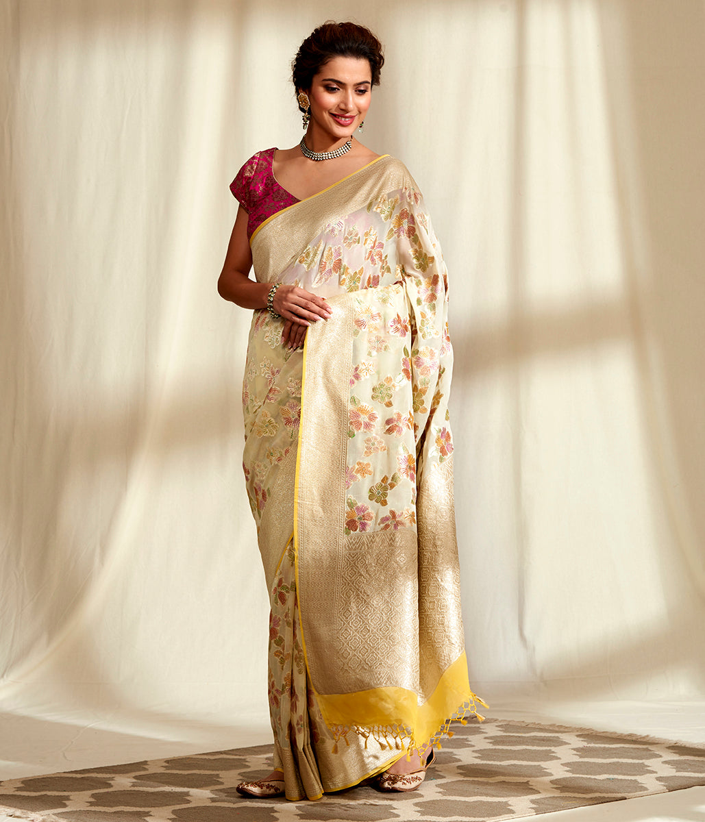 Handwoven Beige and Gold Hand Brush Dyed Saree
