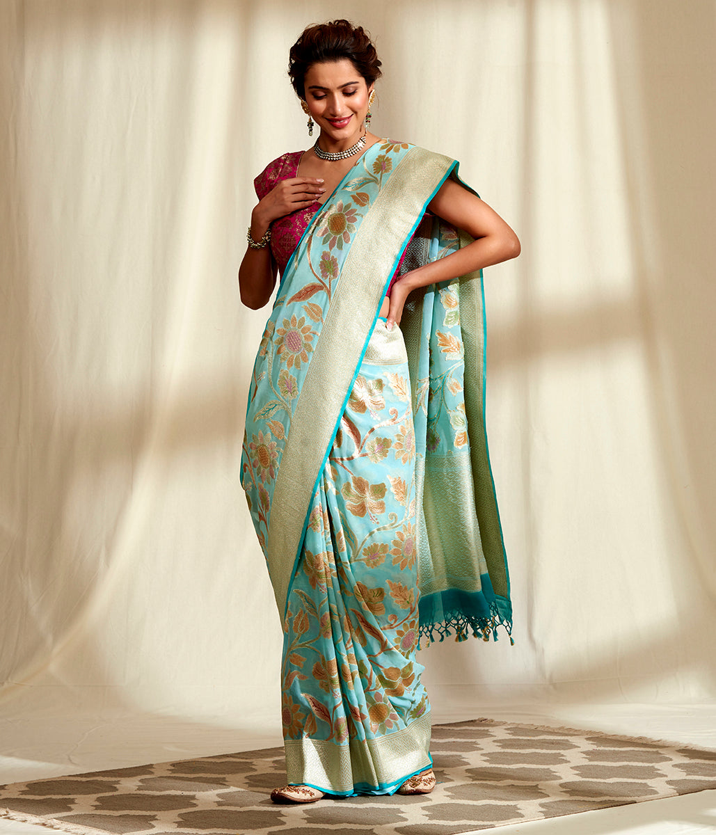 Handwoven Blue and Gold Hand Brush Dyed Saree