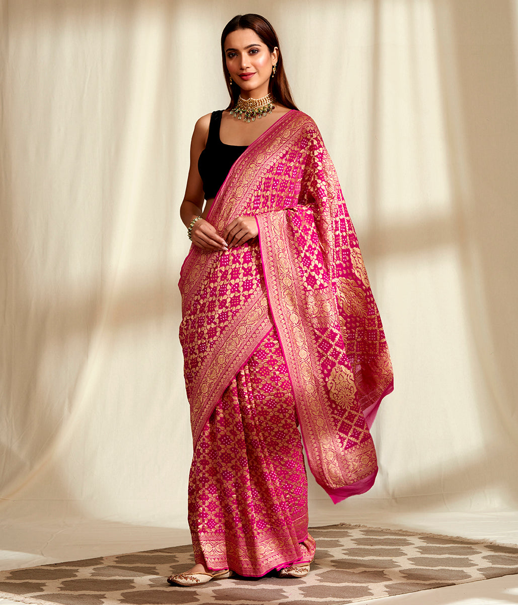 Handwoven Banarasi Bandhej Saree in Pink with Gold Zari Weave