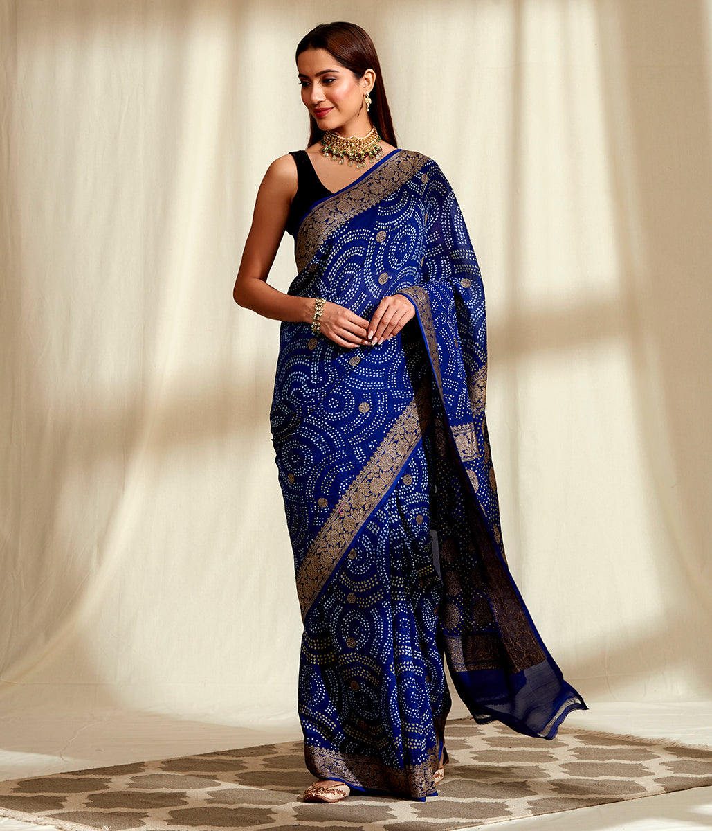 Handwoven Banarasi Bandhej Saree in Blue with Gold Zari Weave