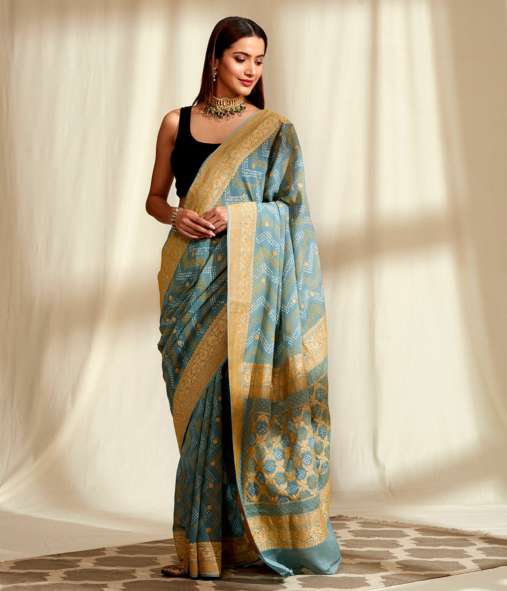 Handwoven Banarasi Bandhej Saree in Grey with Gold Zari Kadhwa Weave