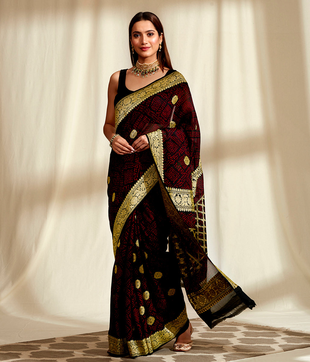Handwoven Banarasi Bandhej Saree in Black with Gold Zari Kadhwa Weave