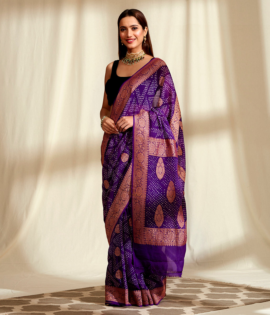 Handwoven Banarasi Bandhej Saree in Purple with Gold Zari Kadhwa Weave