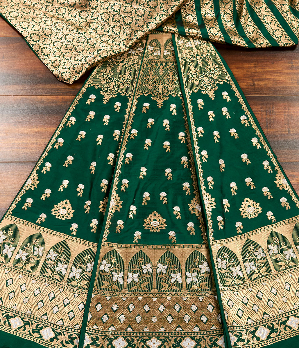 Handwoven Banarasi Katan Silk Lehenga in Emerald Green Color
