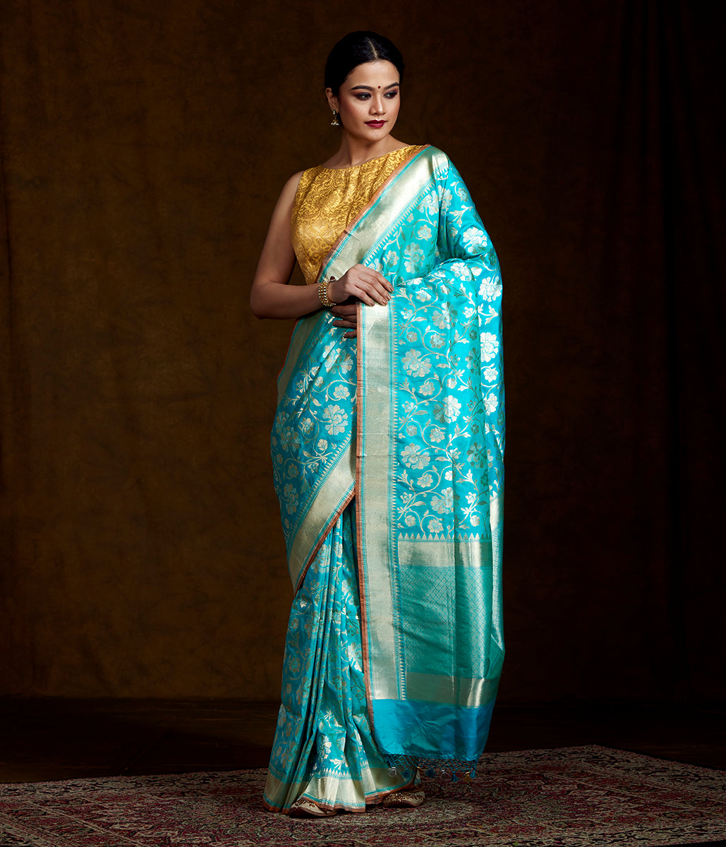 Blue Handwoven Banarasi with Gold and Silver Zari Jaal